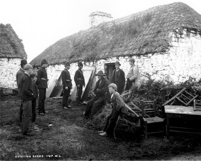 An Irish family is evicted in County Clare, ca. 1879 (  Wikimedia  )