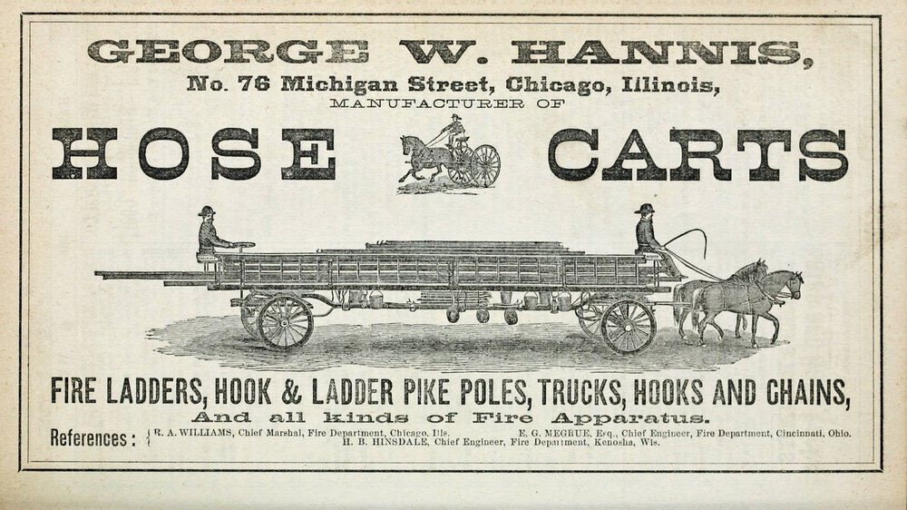 Advertisement, horse-drawn fire truck,1871