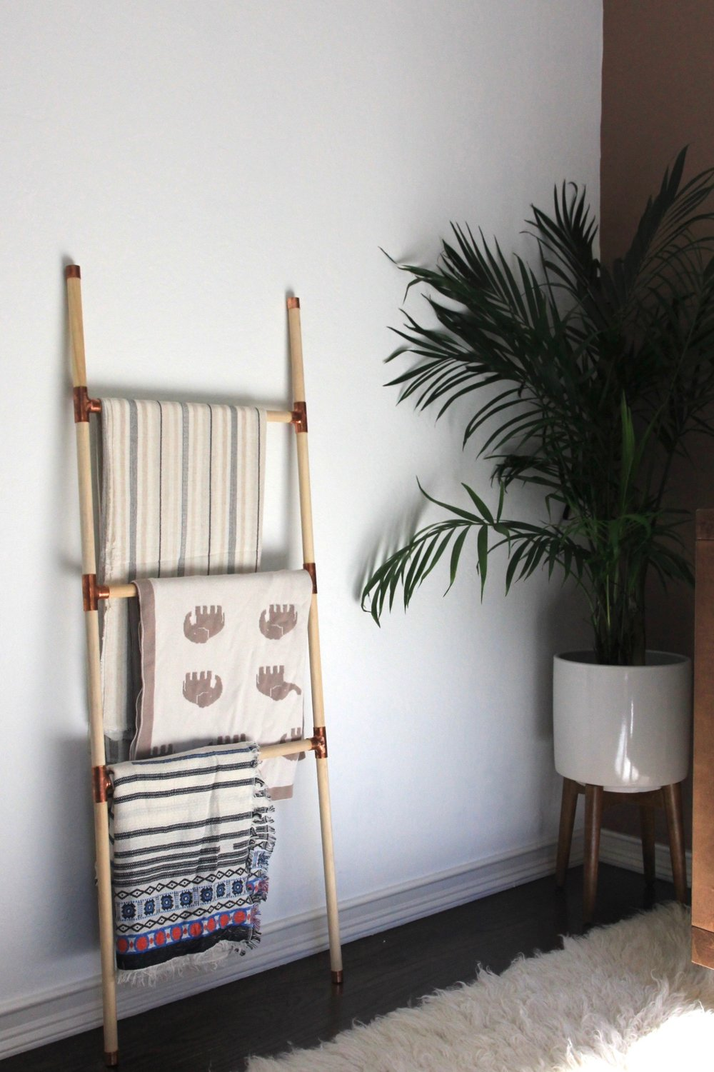 DIY blanket ladder, west elm planter