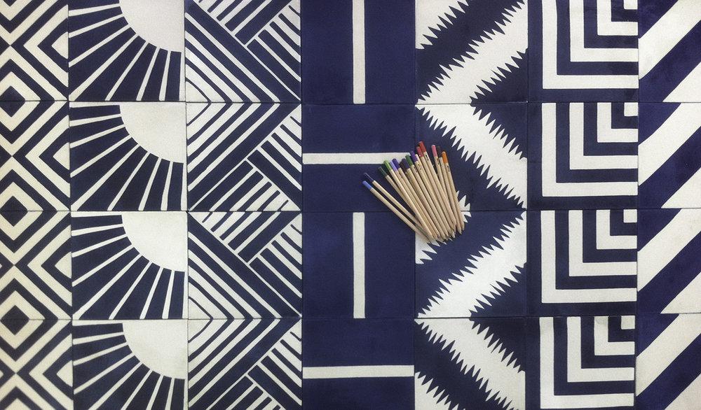Popham Design tiles in shades of indigo