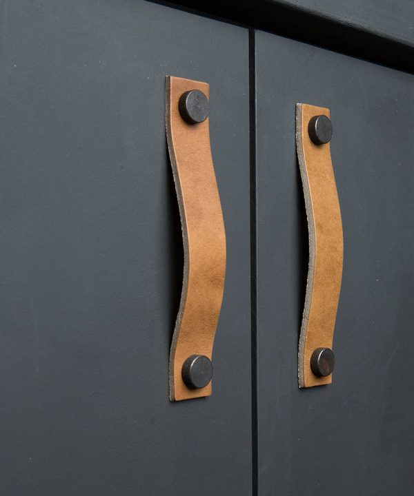Love their leather cabinet pulls!