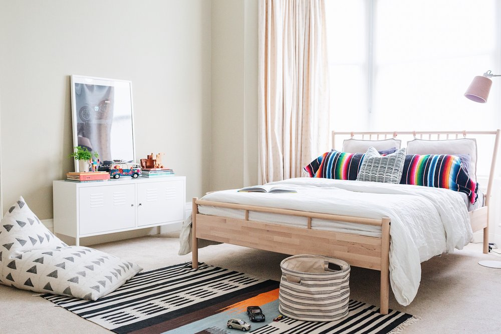 IKEA bed and console