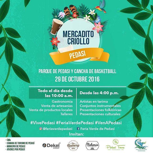 ¡Emocionados! Así estamos por asistir este sábado al Mercadito Criollo de #Pedasí. Estamos más que listos para comer, bailar y apreciar más de la cultura de esta región que tanto amamos 💛🍢🎆.