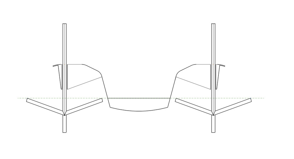Stability Mode    windwatd attack angle: 0º, Leeward attack angle: 0º, immersion depth: at water level, wind conditions: all