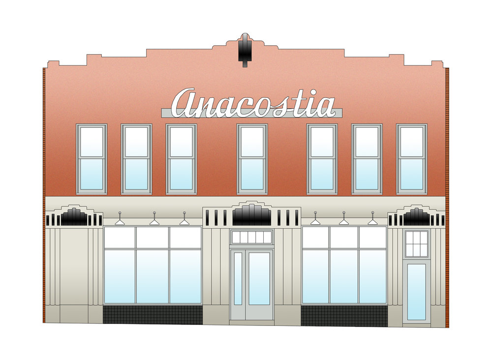 An elevation drawing of the building preservation.