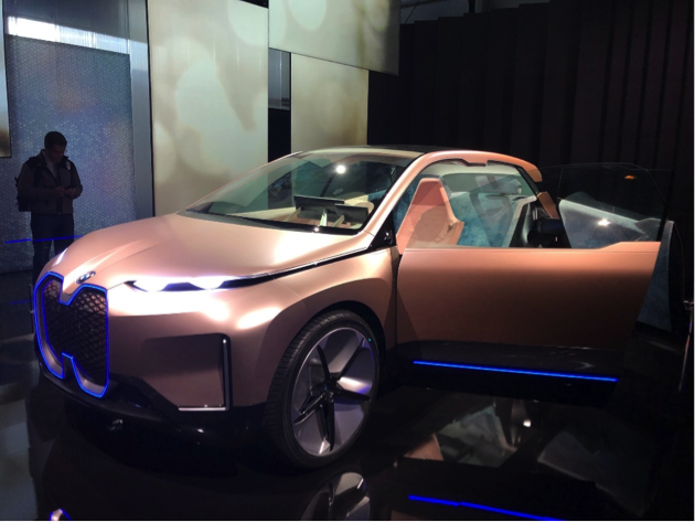 The BMW iNEXT's giant grille will make production; the blue fuzzy interior probably won't.