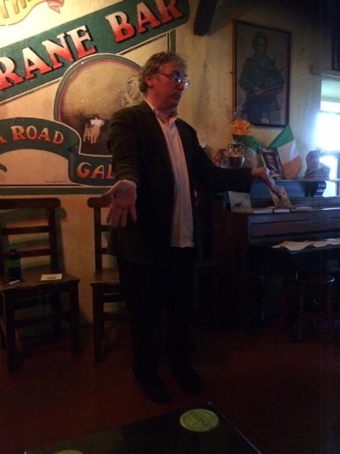 Rab Fulton storyteller at The Crane Bar in Galway.