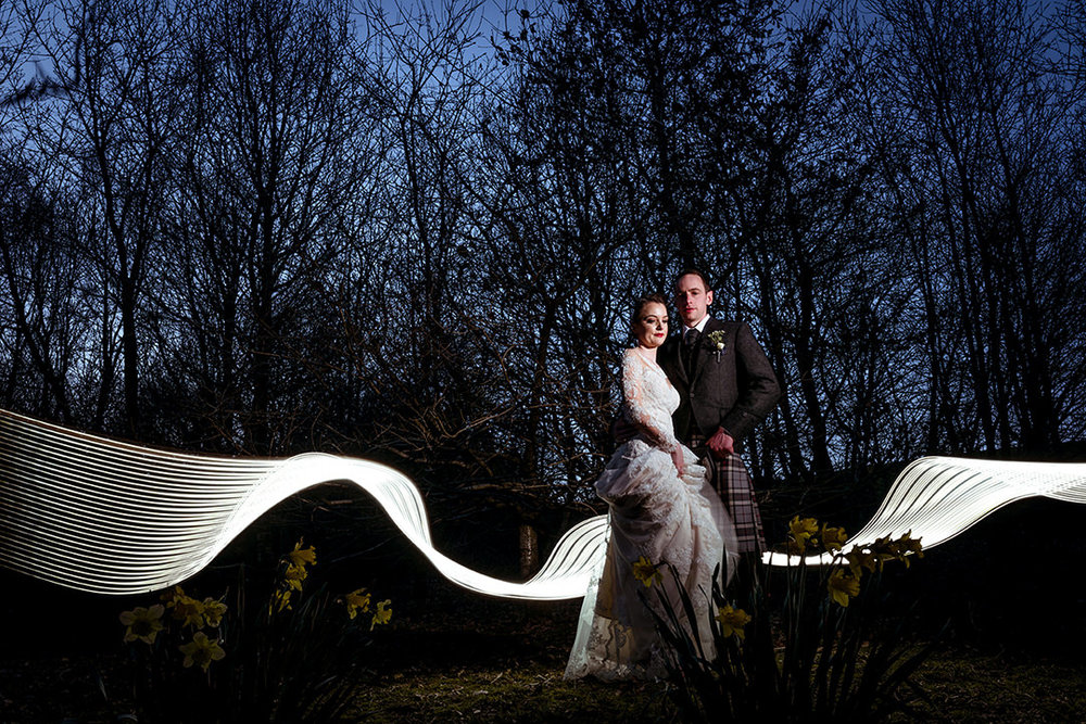modern creative quirky wedding photographer scotland glasgow winter light trail long exposure