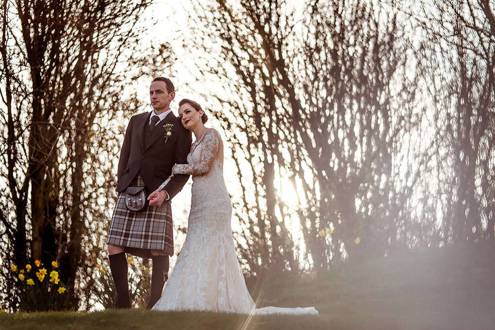 vintage alternative wedding glenskirlie photographer scotland stirling sunset