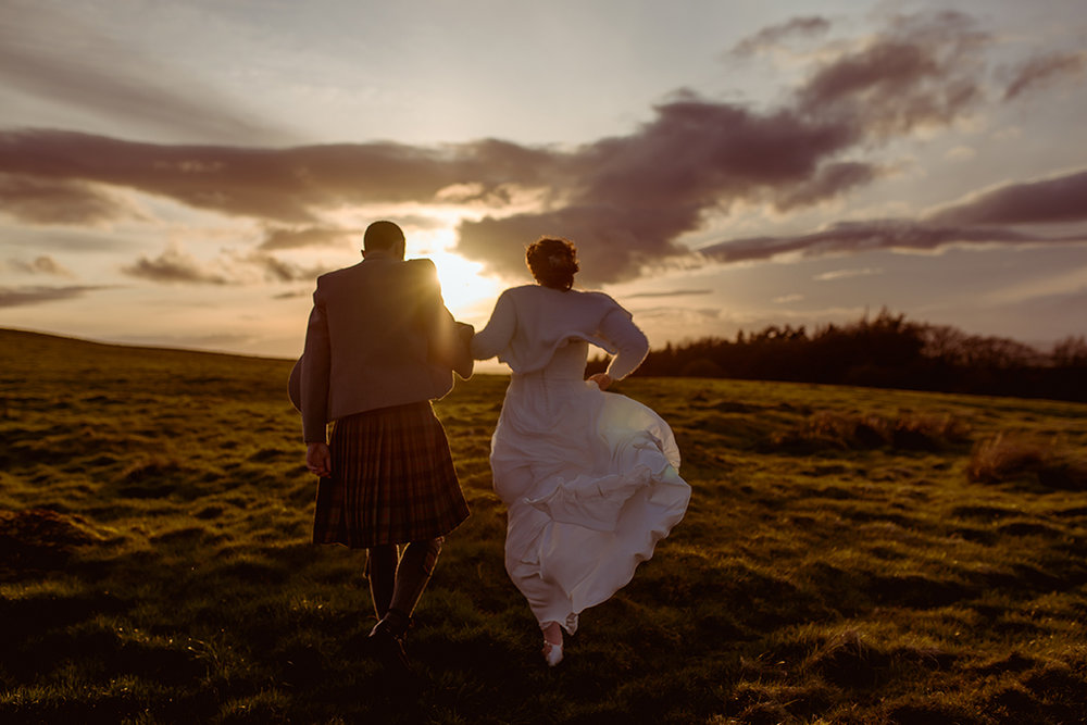 alternative wedding photographer scotland glasgow sunset