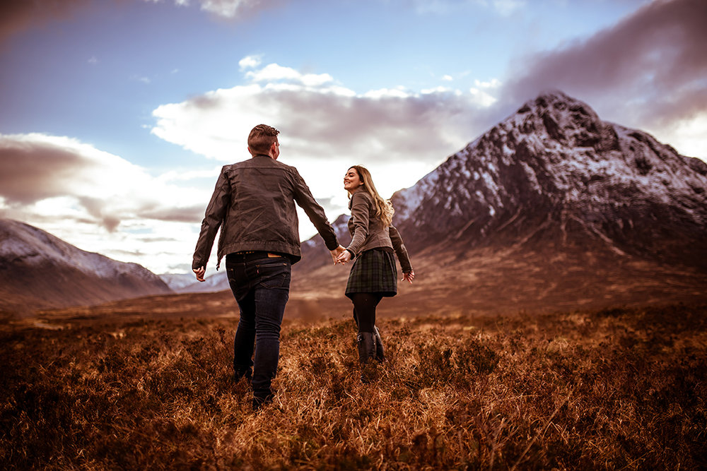 Mount Etive glencoe pre wedding engagement photography