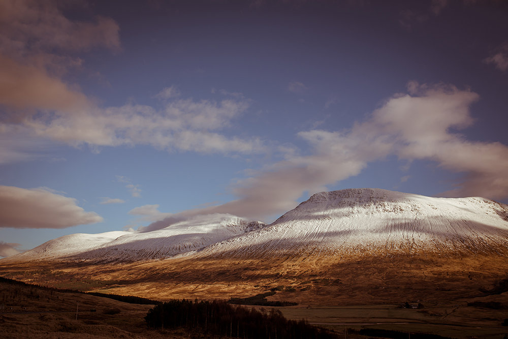 snow capped mountains scottish scenery landscape