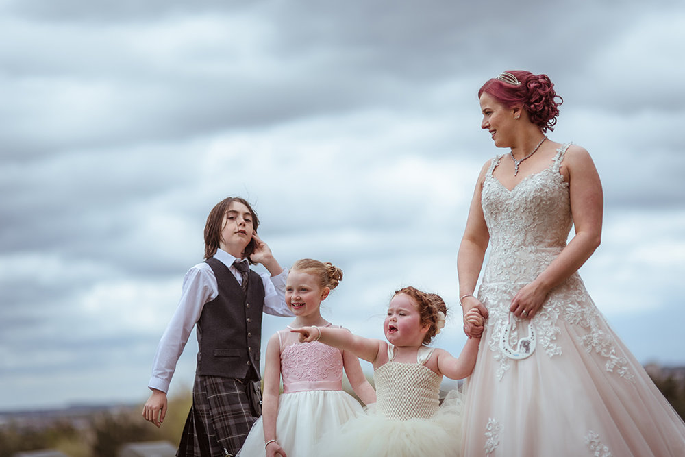 natural chatelherault wedding photography flowergirls