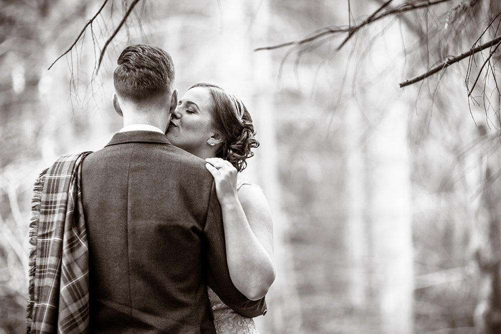 intimate romantic black and white wedding photography scotland
