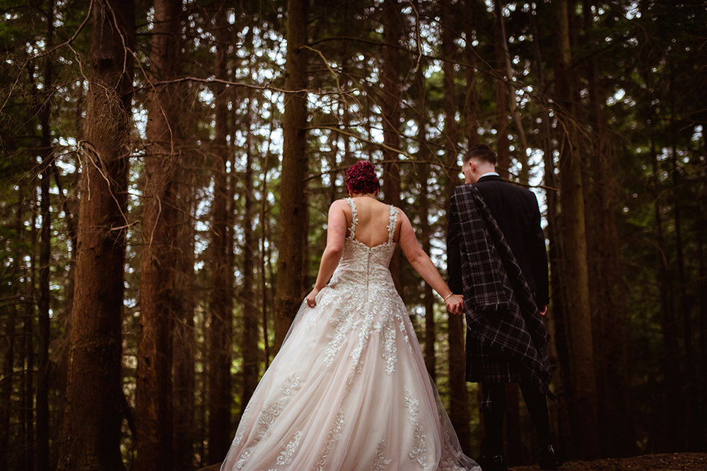 scottish woodland forest wedding photography creative