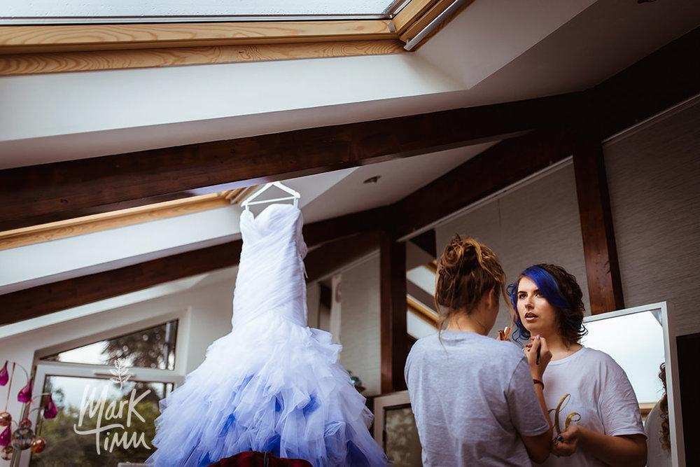 blue tint wedding dress