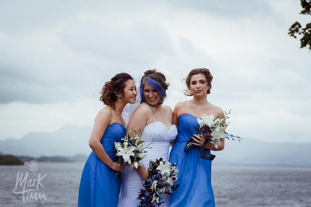 blue bride bridesmaids wedding scotland