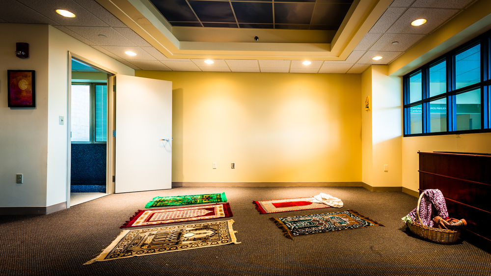 Muslim prayer room, with Ablution Area on the left