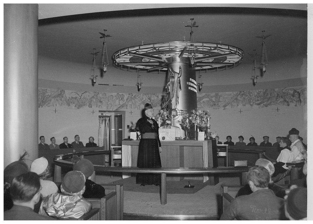 Cushing dedicates 1951 chapel.jpg