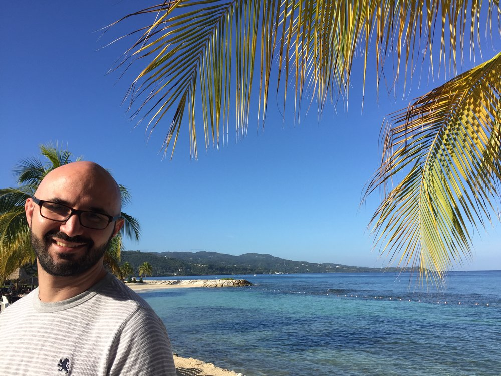 A picture of my husband and the Jamaican beach - two very wonderful things.