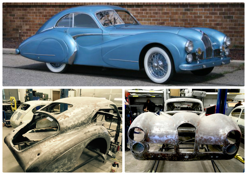 Top:  The Talbot Lago T26 Grand Sport 110114 in mint condition                  Bottom:  The current disassembled frame of the T26