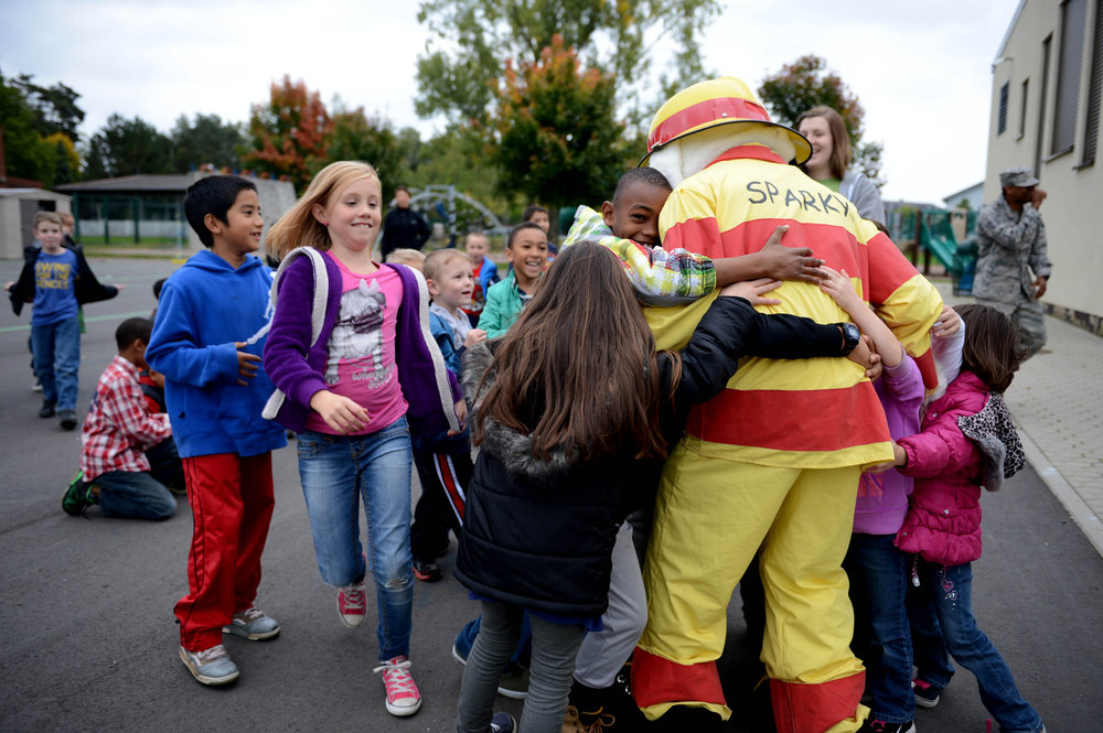 Sparky the Fire Dog greets some fans.