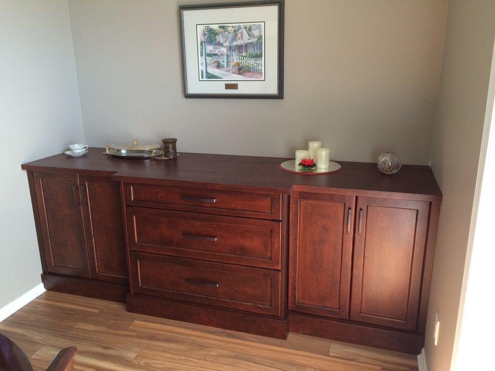 Red Birch Alcove Cabinets