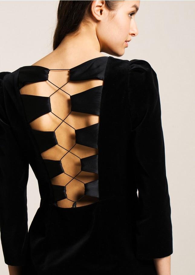 Tara Jarmon Black Velvet Mini Dress.jpg
