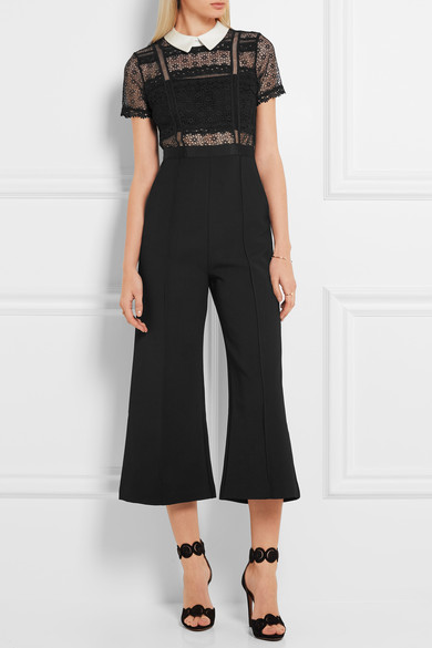 Gorgeous lace detail and the cropped flared cut of this  Self Portrait  jumpsuit. It's currently 30% off at £196 on Net-a-Porter.  Guipure lace and crepe jumpsuit