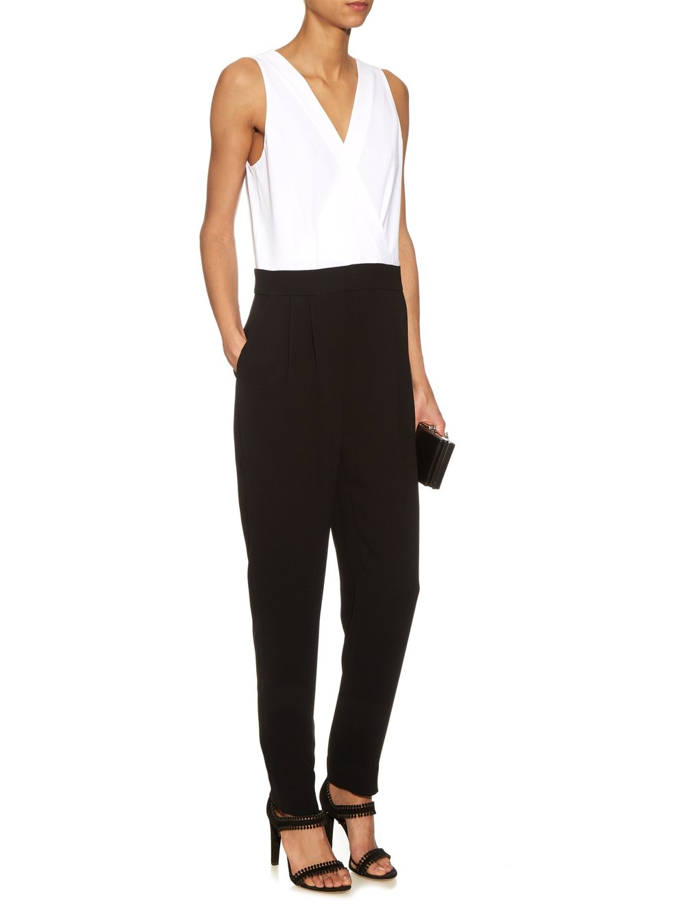 Love the simplicity of a black and white look and this style by  Diane Von Furstenberg  is anything but stunning. Sizes are unfortunately running out though as it's currently 50% off on Matches Fashion.  Emerson Jumpsuit , £249