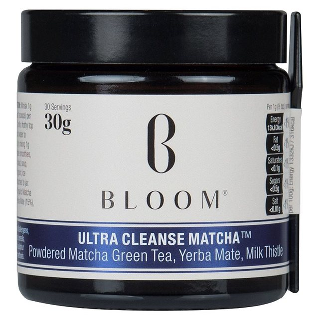 BLOOM   Ultra Cleanse Matcha , £8.49 (normally £17) on ocado.com.  Because I cannot live a day without a huge dose of both white and green tea and because, like everybody else, I currently am in my match phase. Tried this one because it was half price (matcha can be very expensive) and I have one cup a day of this matcha. Makes me feel like I am compensating all the junk food I am eating with something healthy. Wishful thinking...