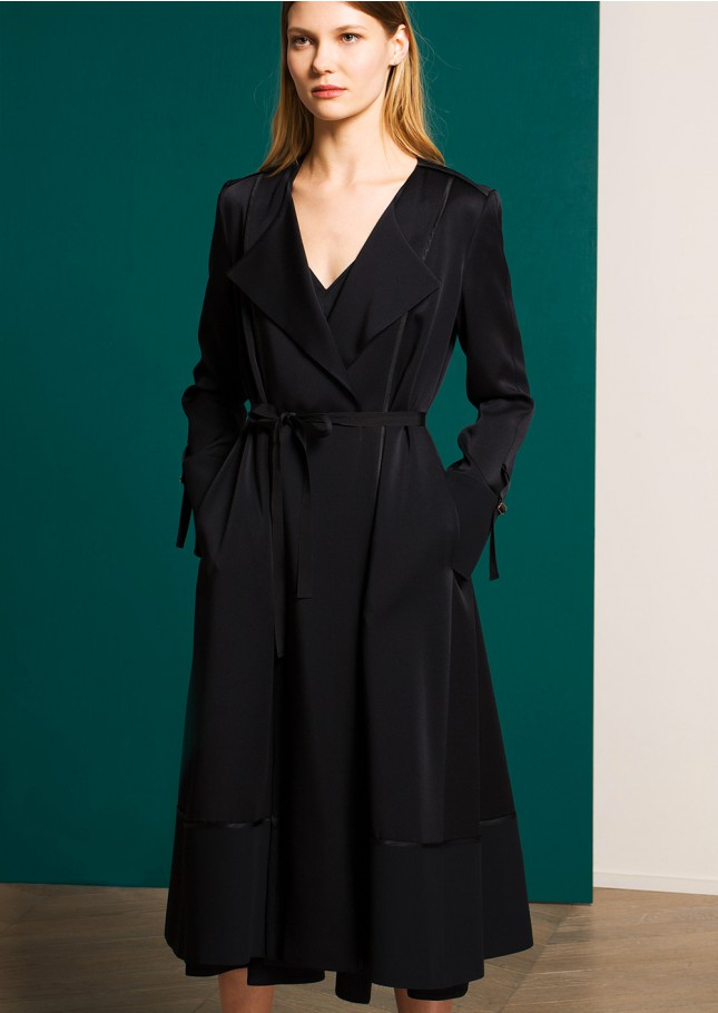 Tara Jarmon ,  Black Satin Drape Front Coat , £272.50 (half price) -  For the Sicilian black lovers. Love the bottom and sleeves details.