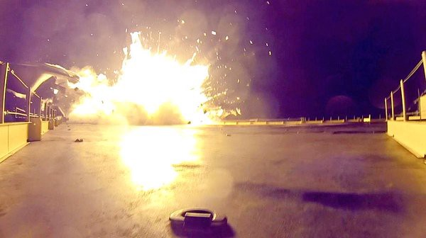 Falcon 9 from CRS-6 is destroyed on landing.Photo courtesy of @elonmusk.