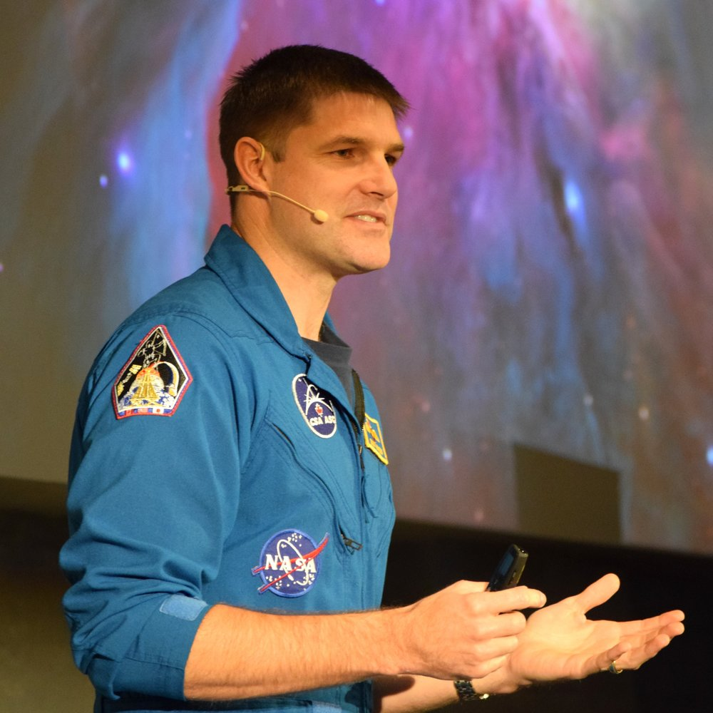 Jeremy Hansen Canadian Space Agency astronaut talking at the SkyWatch NASA Space Apps hackaton