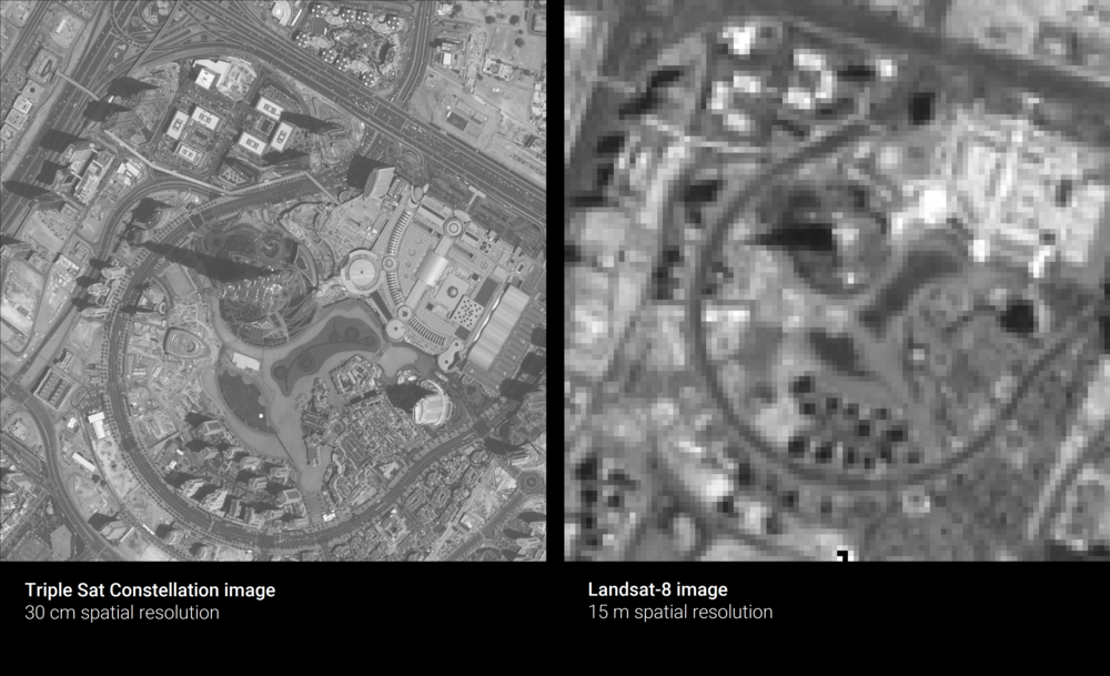 A side-by-side comparison of the Burj Khalifa, as imaged by the Triple Sat Constellation at 30 centimeters spatial resolution and by Landsat-8, at 15 meters spatial resolution. The image taken at the coarser resolution makes it hard to distinguish smaller features on the ground, like roads, trees, or buildings.