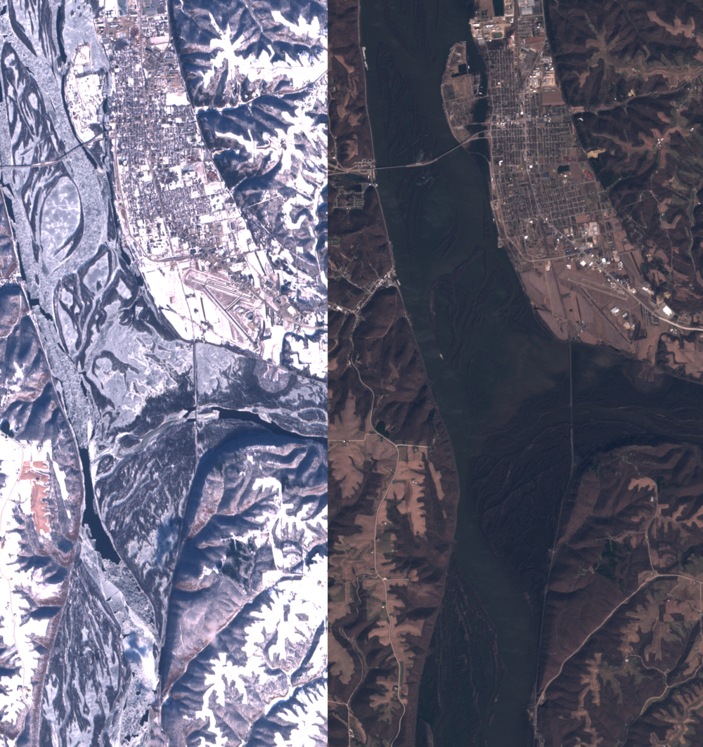 The two images show the same branch of the Mississippi River. On the top right, a nearby town is visible, noticeable by its traditional geometrical street grid. The river is almost entirely frozen and the nearby ground is covered in snow on the picture on the left, while the river is a dark blue and the snow has melted on the picture on the right. The stark difference in colours between the two seasons makes for a visually interesting comparison.