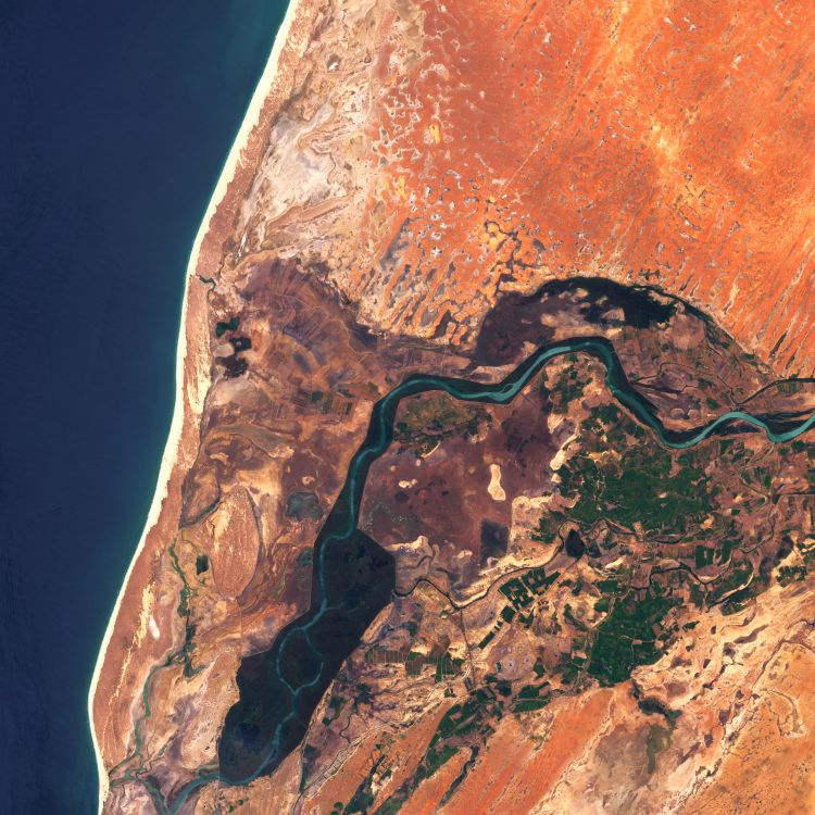 The dark blue water from the Atlantic ocean, on the left, offers a stark contrast with the bright orange sands from the Sahara desert. At the center of this satellite image, the end of the Senegal river is quite visibly surrounded by green vegetation, and man-made irrigation channels to direct the water away from the river and into the nearby fields.