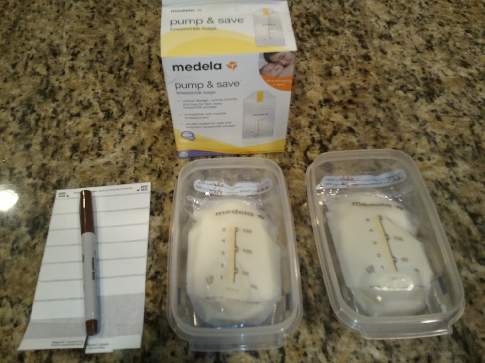 Breastfmilk ready for freezer in Medela bags