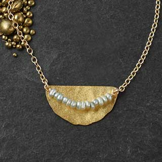Hammered Half Disc Necklace with Micro-Pearl Collar (n-8gtp).jpg