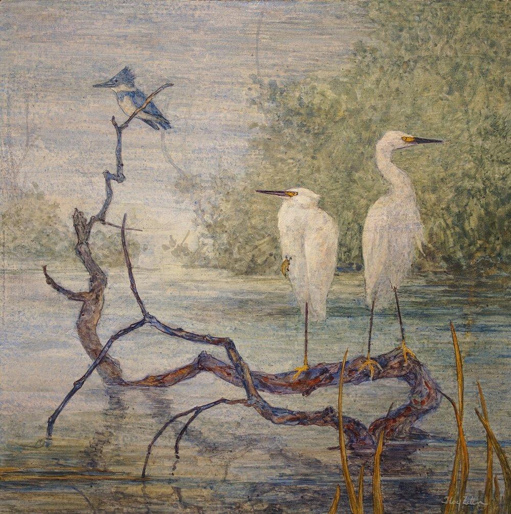Egrets & Kingfigher 12 x 12.jpg