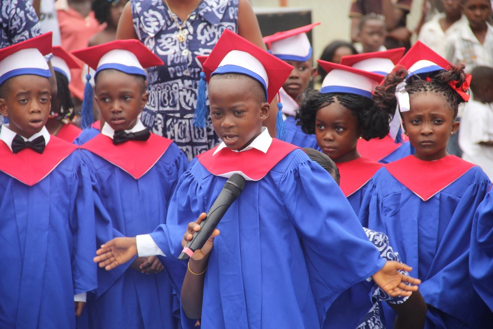Graduation ceremony is a much anticipated event! Each child memorizes a poem or a verse and shares it before they receive their diploma.