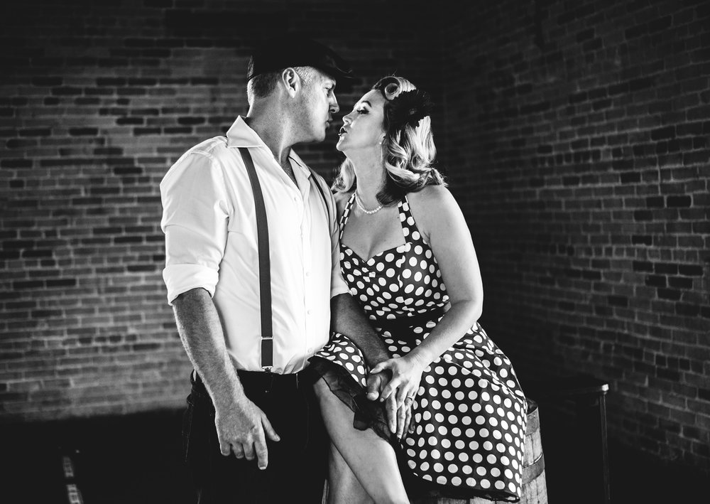 A couple during a Stillwater MN engagement shoot in vintage clothes black and white