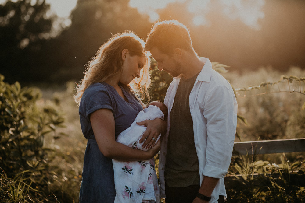 Parents holding baby girl in field at sunset during golden hour in River Falls Wisconsin field of flowers