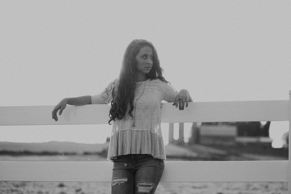 Marshfield Senior High class of 2019 Dara Stichert in black and white portrait photo