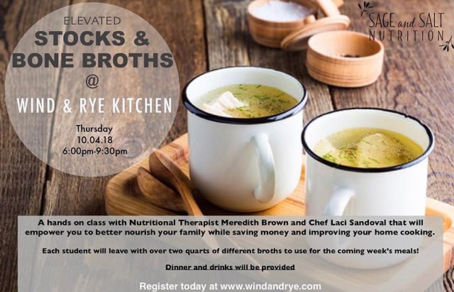 My next class is right around the corner!  It's all about #bonebroth , and is appropriate for those who want to refine their broth making skills, and those who are just getting started.  Learn how to make it taste good, how to incorporate medicinal herbs, and how to use it more often in your everyday cooking. 🌟. Reserve your spot today so you don't miss out!  Register at www.windandrye.com 🍲 🍜 🥣  #makeyourownfood #homemadebonebroth #nutrientdense #takebackyourhealth #kitchenwitch #diyfood #healthyfood #healthylife #heathykids #healthyfamily #happymom #ilovemykids #naturalmama #organicmama #eatwellbewell #slowfood