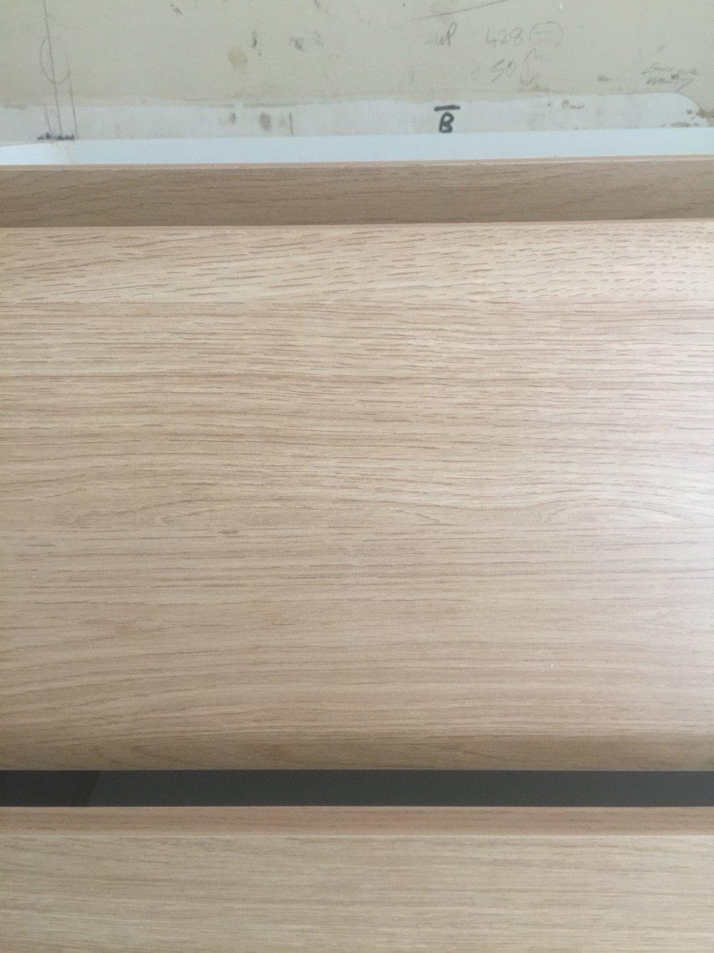 Timber oak vanity details.