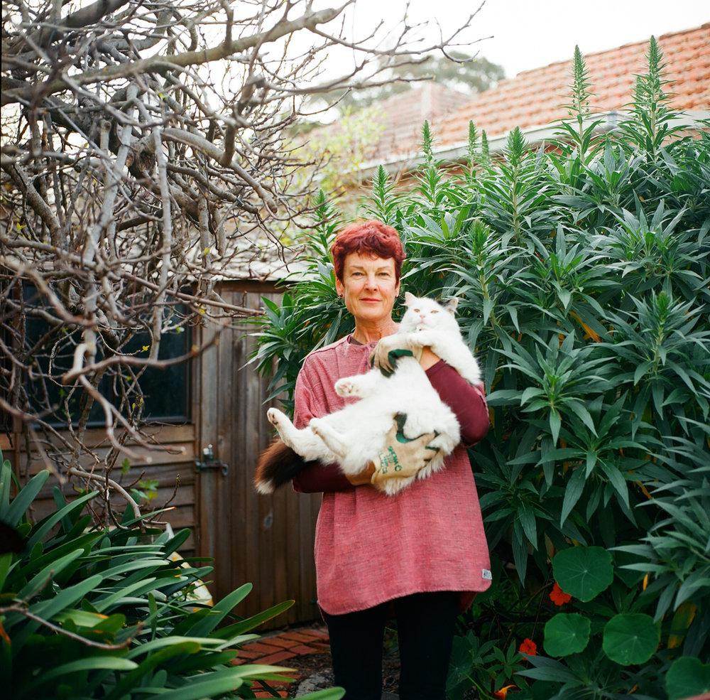 Gardener Archive. 2016. Lyndall with Gizmo, in her garden in Sandringham, Victoria, Australia