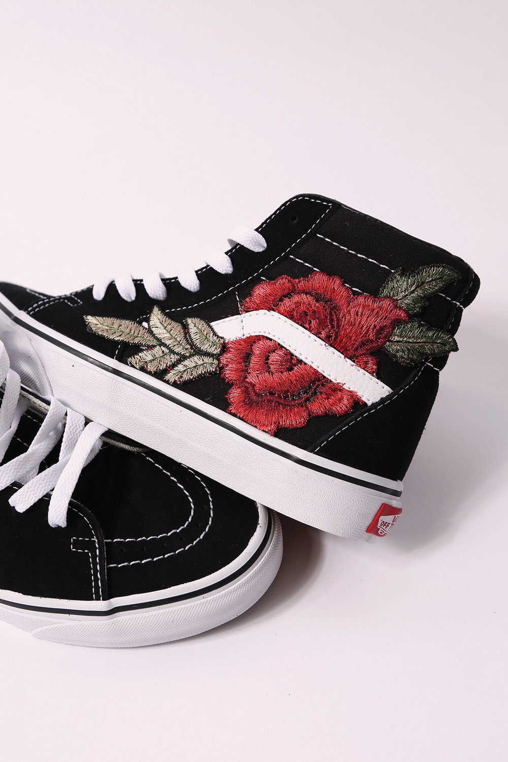 vans shoes with roses. custom vans rose sk8-hi shoes with roses