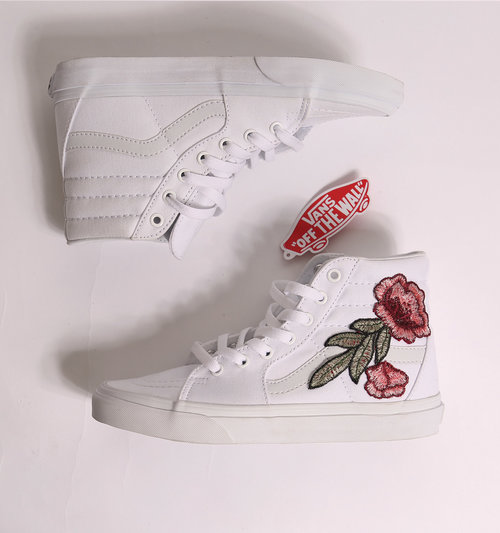 Custom White Vans Rose SK8 HI