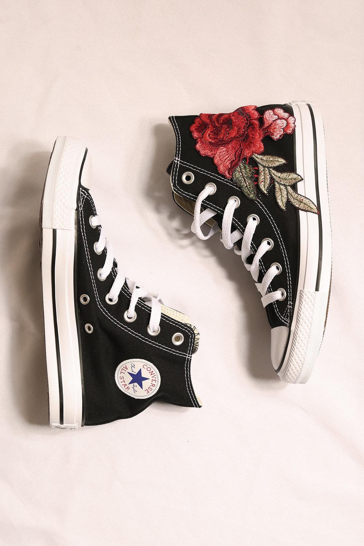 8b5048f5f87b custom black converse rose all star high tops — iamkoko.la